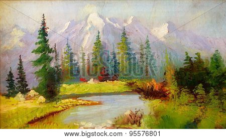 Landscape Painting. River And Miscellaneous And Trees. Snow Covered Mountains In The Background