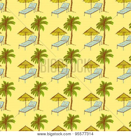 Sketch Palm And Deck Chair In Vintage Style