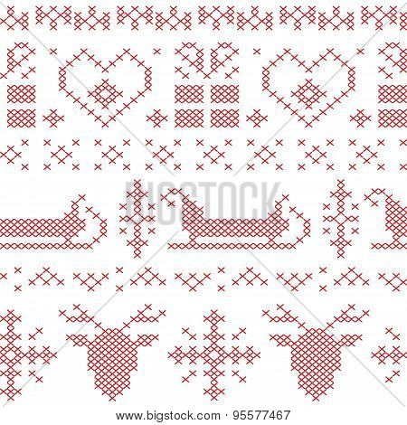 Nordic Seamless Stitched  Christmas Pattern With Santas Sleigh, Reindeer, Snowflakes And Stars