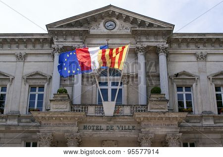 Town Hall In The French City Of Avignon