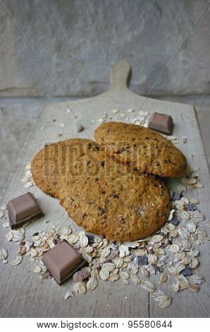 Homemade oat cookies with chocolate