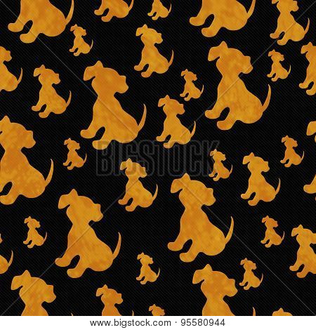 Black And Orange Puppy Dog Tile Pattern Repeat Background
