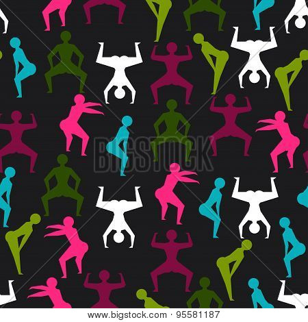 Twerk and booty dance seamless pattern with stylized figures