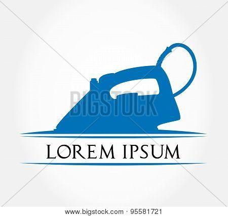 electric iron symbol. Steam iron isolated on white background.