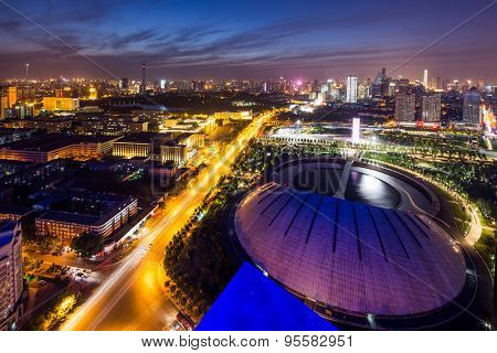 Tianjin,China-May 21,2015:Illuminated skyline and cityscape of tianjin at night.