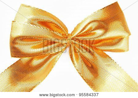 golden bow ribbon isolated