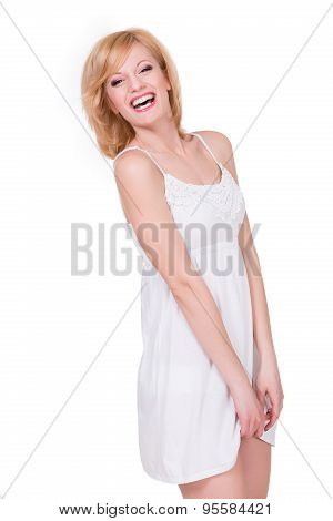 Pretty young girl feeling shy. Smiling happy woman. Isolated