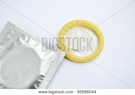 Condoms isolated on white
