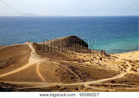 In Lanzarote Spain Pond  Rock Stone   Coastline And Summer In Lanzarote