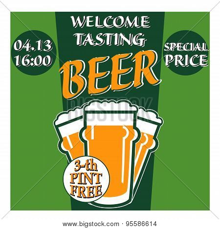 Vector Design Welcome Of Beer Tasting With Glass