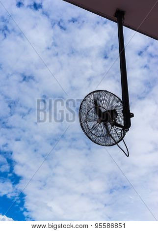 Big Electronic Fan For Outdoor Using In Silhouette With Propeller Swirling