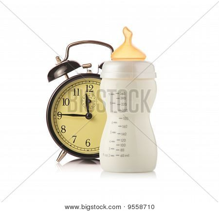 Alarm Clock And Baby Feeding Bottle With Milk
