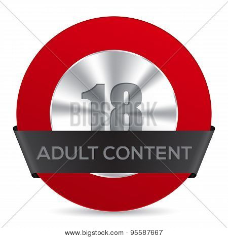 Adult Content Badge With Black Ribbon Label