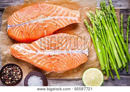 Fresh Raw Salmon Medallions With Asparagus And Lime Top View