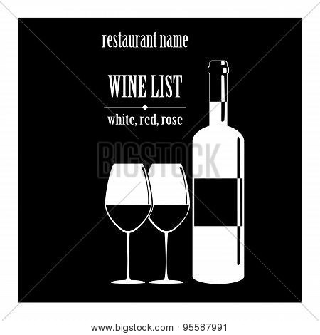 Vector Concept Design Wine List With Text, Glasses And Bottle
