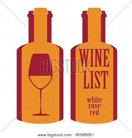 Vector Concept Design Wine List With Text On Bottle