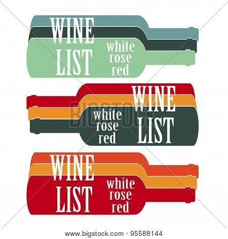 Vector Set Design Wine List With Text, Glasses And Bottle