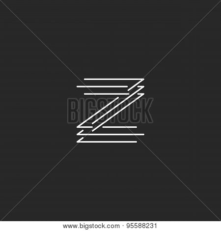 Letter Z Logo Modern Monogram, Black And White Thin Line Mockup Business Card