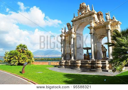 ITALY, NAPLES - SEPTEMBER, 17, 2013  - Fountain of the Giant near the sea