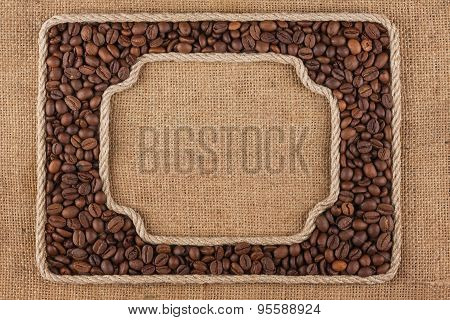 Two Frames Made Of Rope With  Coffee  Beans On Sackcloth