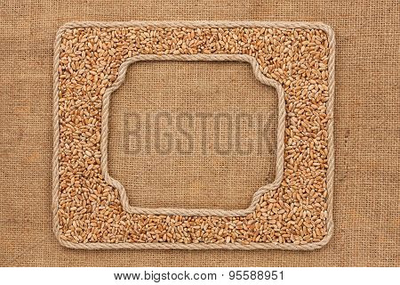 Two Frames Made Of Rope With Wheat  Grains On Sackcloth