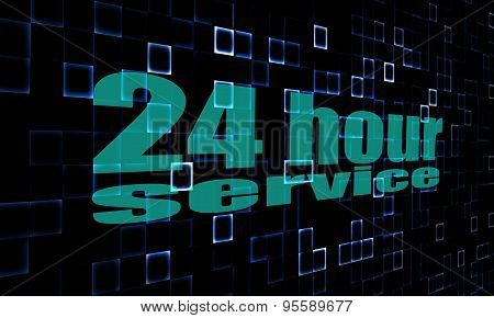 Pixelated Words 24 Hour Service On Digital Background