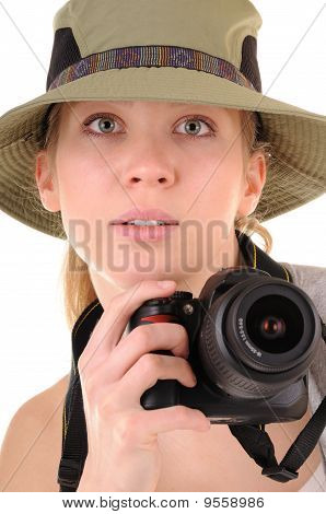 Casual Girl With Photocamera