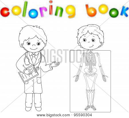 Doctor And Patient Whose Body Is Shown In The X-ray. Game - Coloring Book For Children