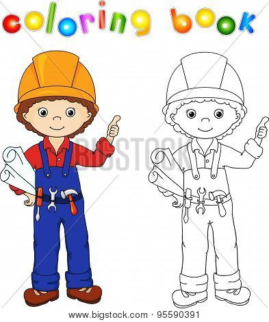 Cute Worker Or Engineer In A Uniform And Helmet With Tools And Drawings. Coloring Book. Game For Chi