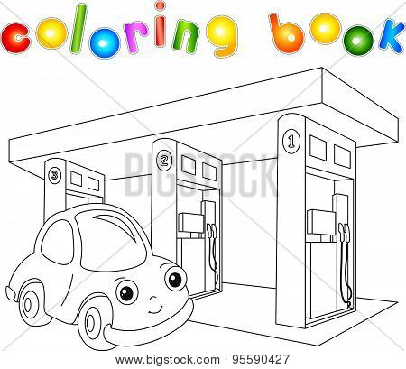 Funny Cartoon Car Near The Petrol Station. Coloring Book For Children