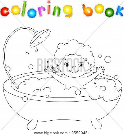 ?ute Toddler Bathing In The Bath With Foam And Laughing. Coloring Book