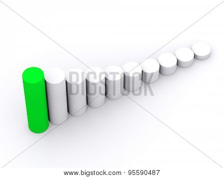 chart success of the cylinders on a white background with a green leader. 3d