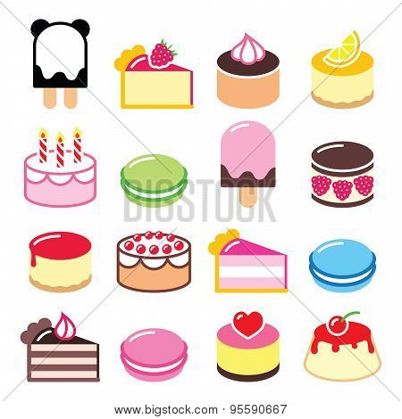 Dessert icons set - cake, macaroon, ice-cream icons