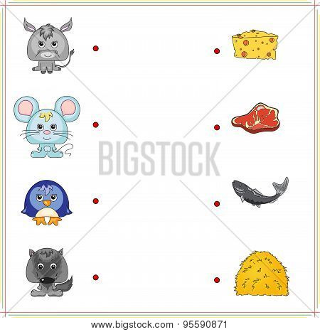 Donkey, Mouse, Penguin And Wolf With Their Food (cheese, Meat, Fish And Hay)