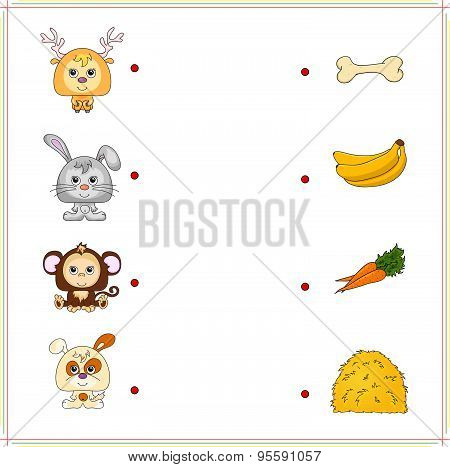 Deer, Rabbit, Monkey And Dog With Their Food (bone, Banana, Carrot And Hay)