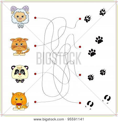 Lamb, Kitten, Panda And Fox With Their Tracks