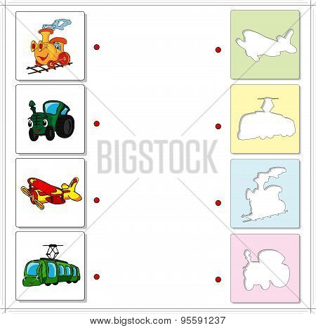 Train, Tractor, Airplane And Tram. Educational Game For Kids