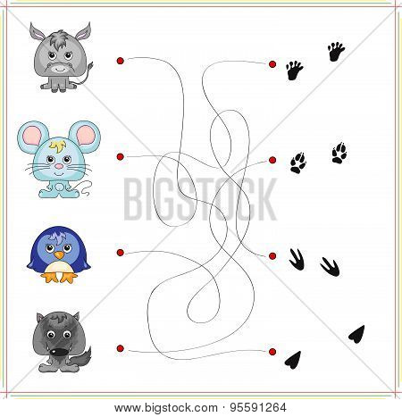 Donkey, Mouse, Penguin And Wolf With Their Traces