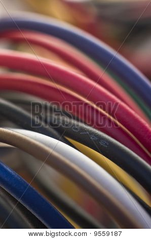 Close up of colourful computer cables