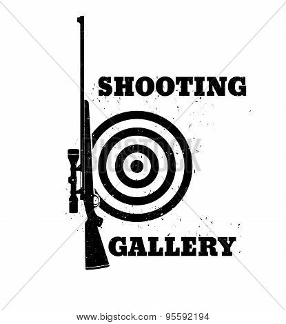 Shooting Gallery Grunge emblem with rifle, vector illustration, eps10, easy to edit