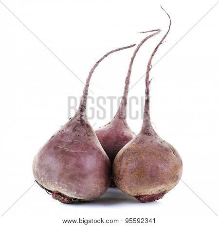 Red beets isolated on white