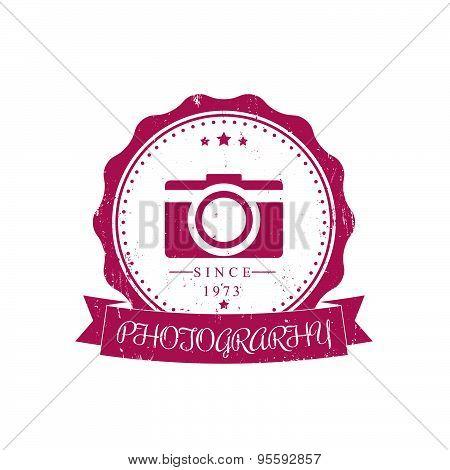 photography, camera, photographer grunge red vintage logo, emblem, vector illustration