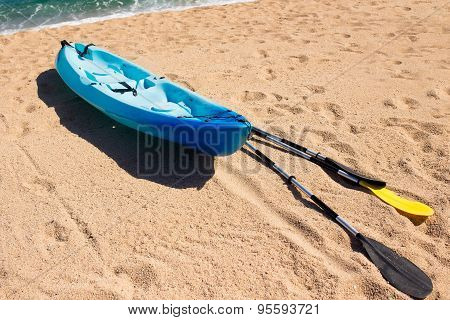 Kayak at the tropical beach. Water sport during vacation
