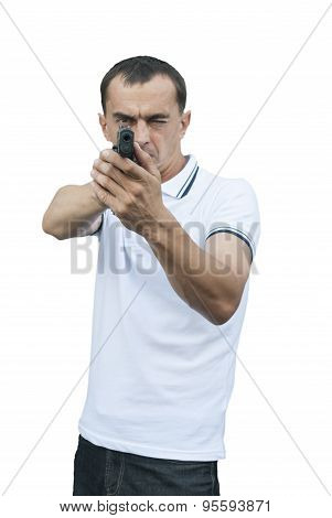 Man Takes Aim Pistol.