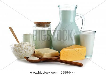 Dairy products isolated on white