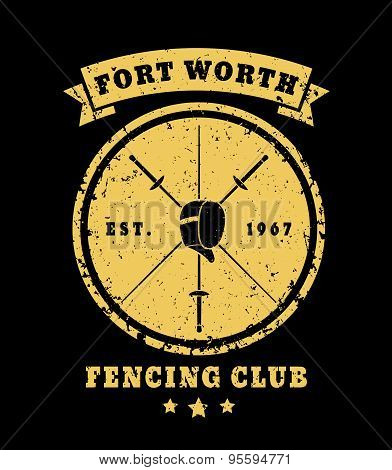 Fencing Club Grunge Vintage Round Emblem, vector illustration