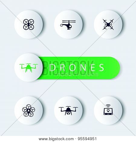 Drones, round modern icons with banner, vector illustration