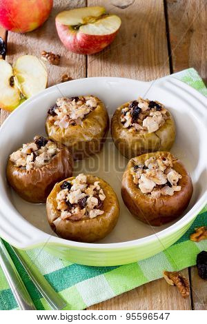 Delicious baked apple filled with minced meat