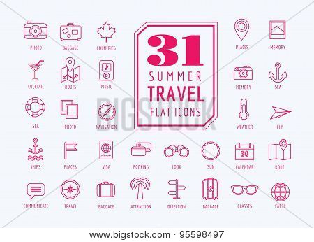 Travel vector icons set. Sea, travel and holiday symbols. Stocks design elements.