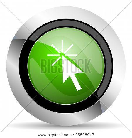 click here icon, green button